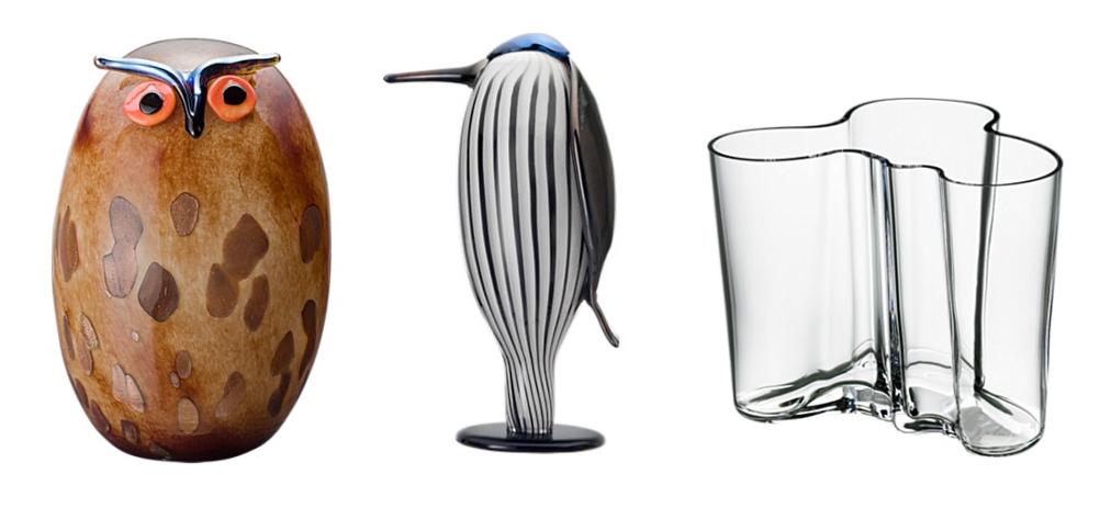 Iittala. Sówka (1029 euro), coś-jakby-dzięcioł (499 euro), waza zaprojektowana przez Alvara Aalto (67 euro) (www.iittala.com)