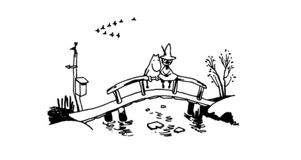 "Ilustracja autorstwa Tove Jonsson do książki ""Kometa nad Doliną Muminków"""
