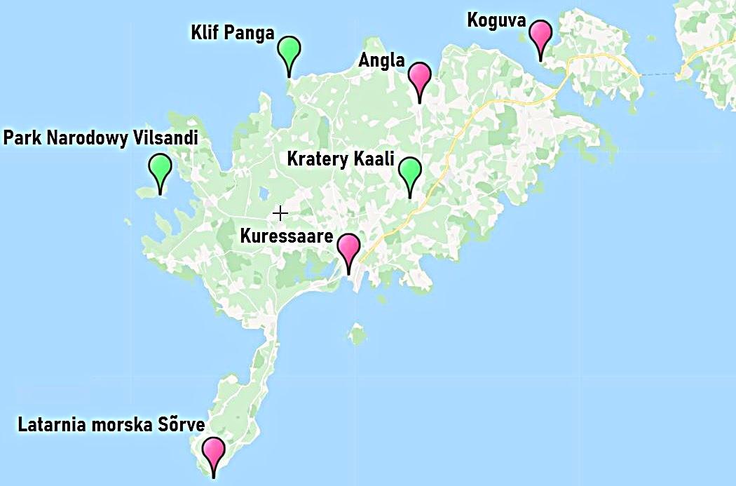 Atrakcje na Saremie - mapa