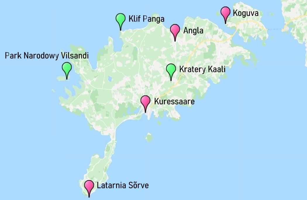 Sarema - mapa atrakcji