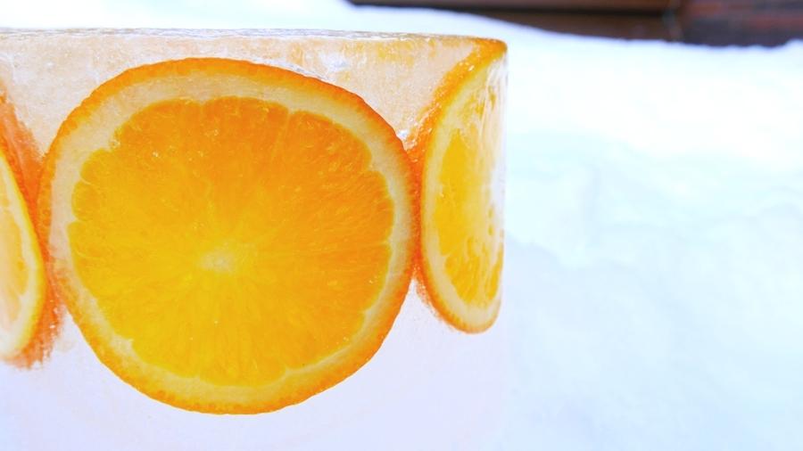 Lodowe lampiony - pomarańcza