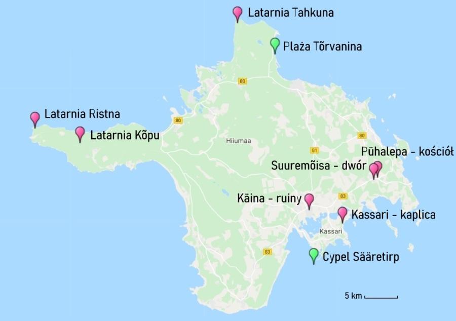 Hiuma - mapa atrakcji